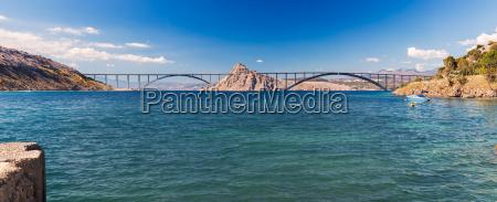 panoramic view of krk bridge croatia