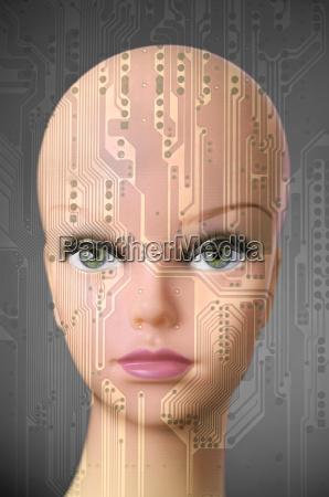 female cyborg head on dark gray