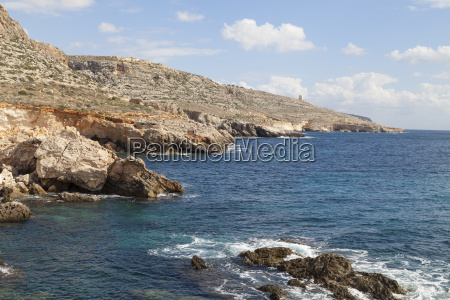 rocky coast of mediterranean sea