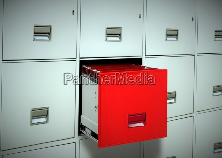 red file cabinet