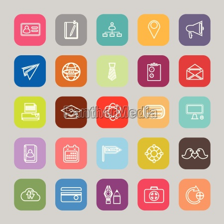 contact connection line flat icons