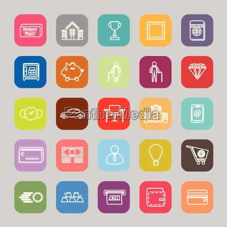 personal financial line flat icons