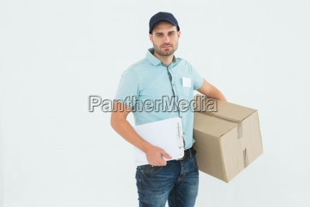 sad delivery man with clipboard and