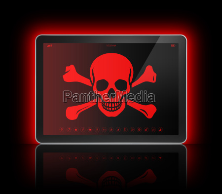 digital tablet with a pirate symbol