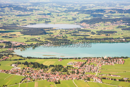 aerial view over lake forggensee