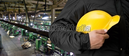 worker with safety helmet