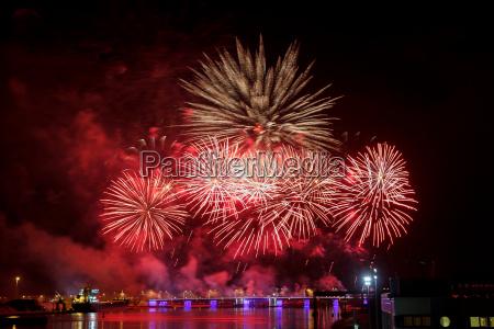 bright firework explosions