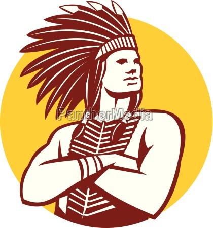 native american indian chief warrior circle