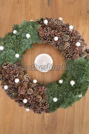 advent wreath on an oak table