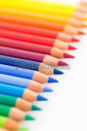 colourful pencils isolated on white