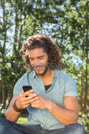 young man using smartphone in the