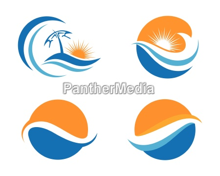 wave symbol and icon logo template