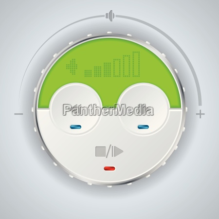 compact car audio player with green