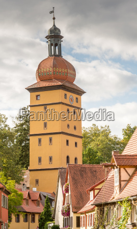 historic city gate tower in dinkelsbuehl