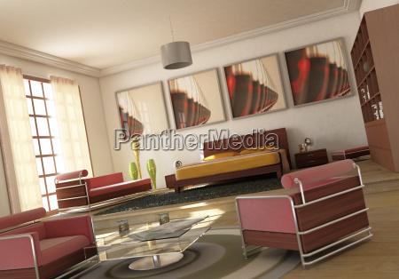 open space modern bedroom livingroom