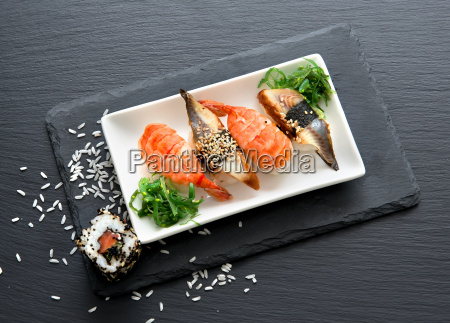 sushi with salad