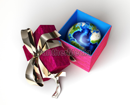 gift package with ribboned open cup