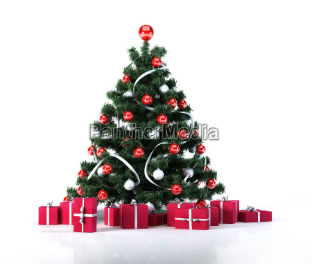 christmas tree with golden balls and