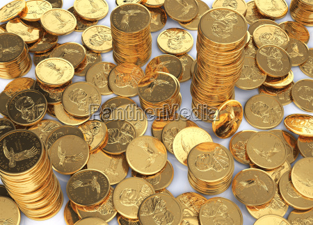 gold dollar coins spread on a