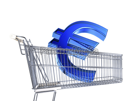 supermarket trolley with big euro sign