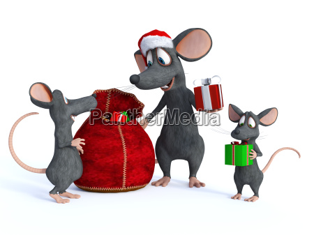 cartoon mouse santa handing out presents