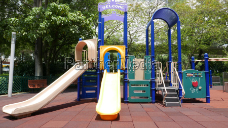 colorful playground setup in sunny day