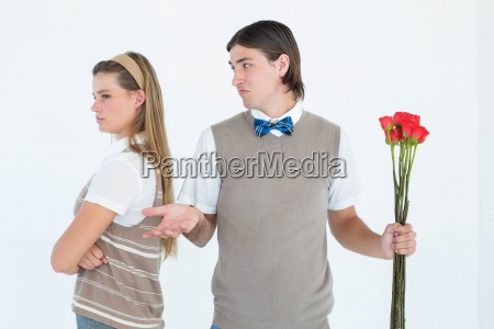 geeky hipster couple not talking after