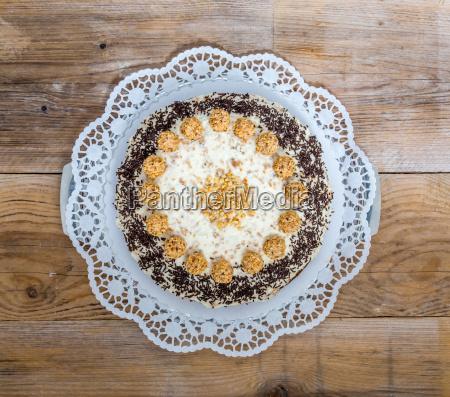 almond nut cake on rustic wood
