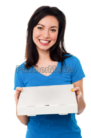 young lady holding pizza box