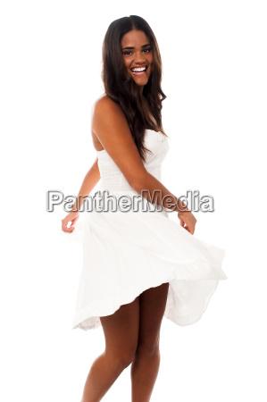 charming young woman in joyful mood