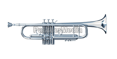 silver trumpet viewed from a side
