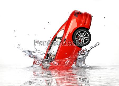 red generic sedan car falling into