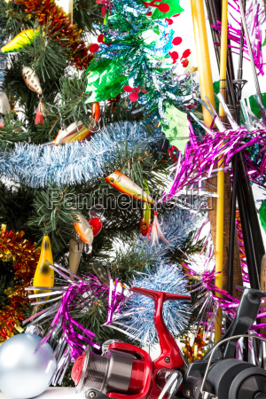 christmas tree with fishers tackles