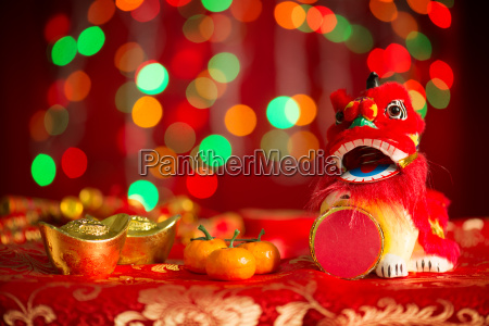 chinese new year objects on red