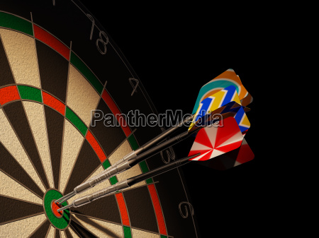 dartboard with three darts in center