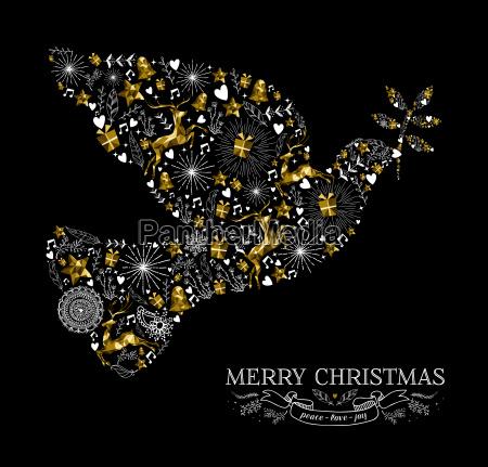 merry christmas dove bird silhouette gold