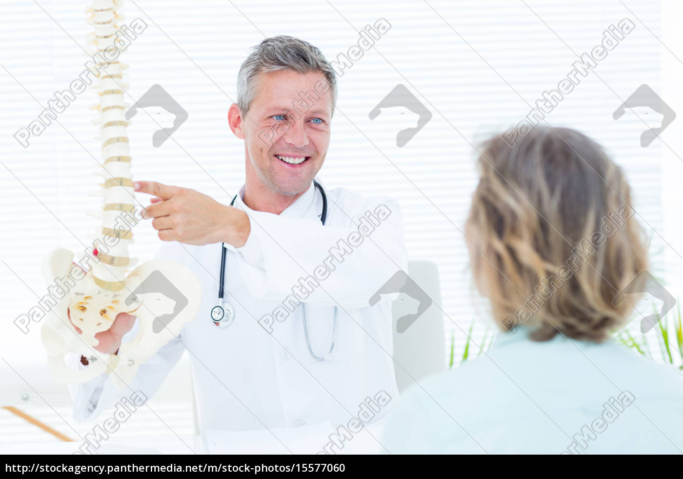 doctor, showing, his, patient, a, spine - 15577060