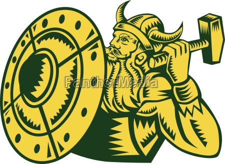 viking warrior hammer shield woodcut