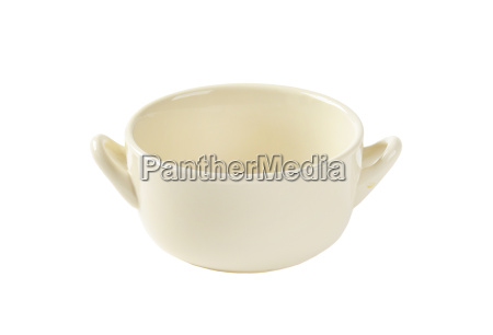 beige double handle soup bowl