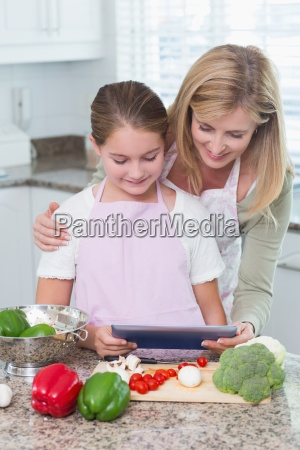 mother and daughter cooking together with