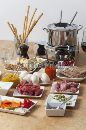 closeup of a fondue set