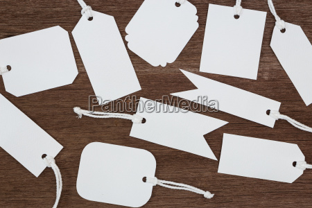blank white paper tags label on