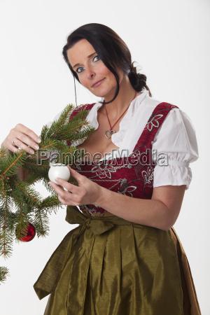 woman with a christmas ball