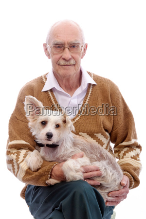 cute grandpa with a dog sitting