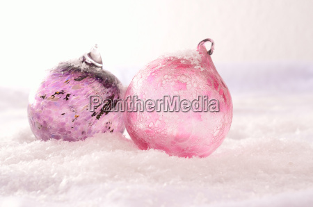 christmas background with pink glass balls
