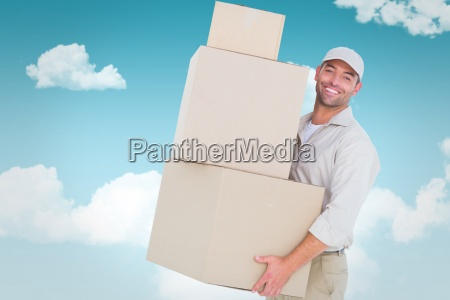 composite image of delivery man carrying