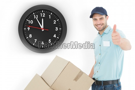 composite image of delivery man with