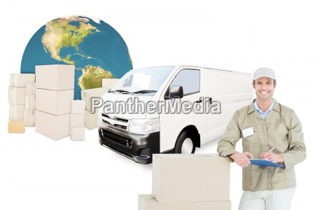 composite image of happy delivery man