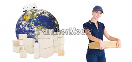 composite image of happy delivery woman