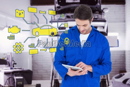 composite image of mechanic using digital